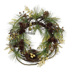 """Silk Plants Direct - Silk Plants Direct Bird Pine Cone, Bird Nest, Cage and Pine Wreath (Pack of 2)"""" - Silk Plants Direct specializes in manufacturing, design and supply of the most life-like, premium quality artificial plants, trees, flowers, arrangements, topiaries and containers for home, office and commercial use. Our Bird Pine Cone, Bird Nest, Cage and Pine Wreath includes the following:"""