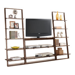 Riverside Furniture - Riverside Furniture Lean Living TV Stand in Burnished Brownstone - *Shown with 2 Bookcases Sold Separately