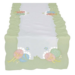 Xia Home Fashions - Easter Egg 11 Inch By 28 Inch Table Runner - Colorful embroidered Easter eggs adorn this linens collection! These linens add a cheerful touch to you Easter family gatherings.