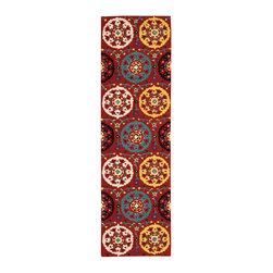 "Nourison - Nourison Suzani SUZ01 2'3"" x 8' Red Area Rug 13959 - Folkloric traditions spring to life in this exuberant design. Bouquets of blossoms are showcased on ""doilies"" of turquoise, ivory, daffodil and black on a background of bright crimson. Twining vines dotted with daisies complete the exciting effect of this wonderfully textured and richly colored rug."
