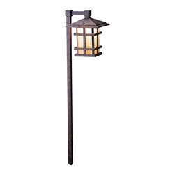 """LANDSCAPE - LANDSCAPE Cross Creek Outdoor Path Light X-ZGA23251 - This Kichler Lighting outdoor path light from the Cross Creek Collection features an arts and crafts styling finished in an Aged Bronze finish with a textured amber seedy linen glass shade. Wiring is 6"""" Min. of usable 105 &#176:Celsius, 18 AWG wire leads. Medium base porcelain socket."""