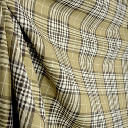 Brown Taupe Beige Cream Plaid Drapery Fabric By The Yard - Brown, beige, taupe and cream create this masculine plaid drapery fabric.  Uses for this include window treatments, lightweight upholstery and bedding.