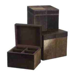 Faux Pony Boxes - This elegant set of rich, chestnut colored faux pony boxes adds a sophisticated touch to a bedroom or study. The black topstitching detail creates a beautiful grid pattern and is an enchanting way to hold your personal treasures. The smallest box features intimate compartments for jewelry.
