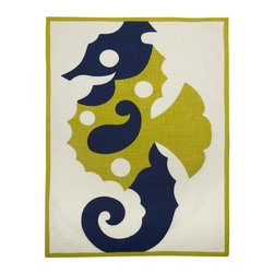 Thomas Paul - Amalfi Sea Horse Tea Towel - Bold, graphic, colorful; these are words often used to describe crazy uncles and women's fashion, but they are also the perfect words to describe the textile collection of design industry darling Thomas Paul. His cheerful prints are the perfect addition to any space or wardrobe needing a splash of color.  The Amalfi collection is inspired by the glamorous and alluring, Amalfi Coast in Italy, during the 1960's. A fun collection of bold prints in vibrant hues and vintage themes, for your home and any seaside escape. Happy travels!