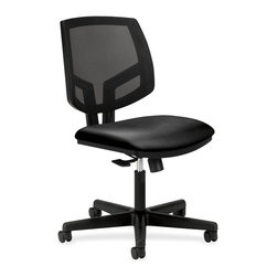 HON - HON Volt Mesh Leather Task Chair - Leather Black Seat - Plastic Back - Volt task chair offers a unique combination of style, scale, comfort and functionality. Its real value is in its flexibility with the ability to work in virtually any environment. The larger leather seat and natural cooling of the mesh back provide maximum comfort, and the 360-degree swivel mechanism with tilt, tilt-lock and tilt tension options allow you to adapt the chair to your personal needs. Tilt tension controls the amount of resistance felt as you lean back, accommodating a variety of tasks and body types. Tilt lock keeps the chair in an upright position when necessary. Swivel/tilt allows the chair to recline effortlessly, promoting movement and comfort throughout the day. This ergonomic task seating design includes a generously proportioned seat cushion and 2-1/2 hooded, dual-wheel casters. Chair also features a plastic outer back and black frame. Chair meets or exceeds applicable ANSI/BIFMA and ISTA performance standards. Height-adjustable arms are sold separately.