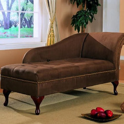 Stylish Seating - Brown Microfiber Chaise