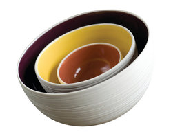 Pigeon Toe Ceramics - Scribble Nesting Bowls, Fig/Coral/Yolk - A set of three heavy duty hand-thrown porcelain bowls with our classic scribble pattern on the unglazed exterior, and interior colors of your choice. Fits together for easy storage.
