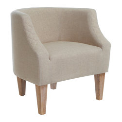 Great Deal Furniture - Isabel Fabric Accent Chair, Beige - The Isabel Accent Chair is a modern twist on the classic accent and club chair. Upholstered in beige fabric, it features a rounded backrest that contours the body and stands on birch wood legs.