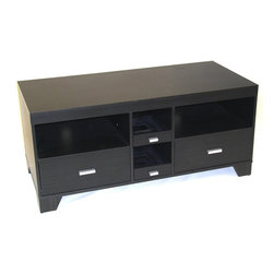 "4D Concepts - 4D Concepts Large TV Stand in Black Wood Grain - The large TV stand finished in a rich black wood grain will accommodate most 50"" TV's.  This unit comes with two pull out drawers designed for CDs and DVD's storage and hold 40 DVD's or 60 CD's.  Two spacious drawers open on easy pull metal slides and can be used for additional storage for DVD's, CD's, remotes, etc.  The 2 open shelves are great space for your electronic needs. The tapered decorative feet elevate the unit to give it a stylish look.  Unit is made of Composite wood with durable PVC laminate. Clean with a dry non abrasive cloth.  Assembly is required."