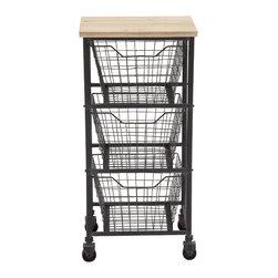 Durable Constructed Metal Wood Storage Cart - Description: