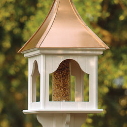 Bird Feeder with Copper Roof - A Charleston Gardens bird feeder with a copper roof will stand tall in the garden. Plus, the bird seed won't get wet and messy.