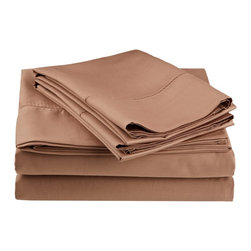 Cotton Rich 600 Thread Count Hem Stitch Sheet Sets - Twin - Taupe - Surround yourself in the classic elegance of Impressions Hem Stitch sheet set. This design features hem stitching which is a classic method used to put two pieces of fabric together using a an insertion stitch to give off the appearance of lace. Set includes One Flat Sheet 66x96, One Fitted Sheet 38x75, and One Pillowcase 20x30.