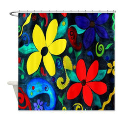 usa - Retro Flowers Shower Curtain - Beautiful shower curtains created from my original art work. Each curtain is made of a thick water resistant polyester fabric. The permanently applied art work appears on the front side with the inside being white. 12 button holes for easy hanging, machine washable and most importantly made in the USA. Shower rod and rings not included. Size is a standard 70''x70''