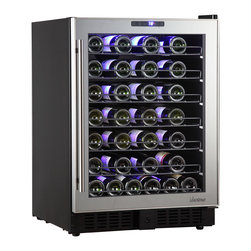 Vinotemp - 54-Bottle Mirrored Touch Screen Wine Cooler - 54-bottle wine cooler with beautiful mirrored trim. For freestanding or built-in installation. Sturdy black metal cabinet with dual-pane glass door. Modern pole handle. Sturdy black wire racking. Soft-glowing interior LED lighting. Temperature range: 40-72���F. Bottle capacity: 54. 23.4 in. W x 22.4 in. D x 33.1 in. H (112 lbs)Store your wine at the perfect temperature with the 54-Bottle Touch Screen Mirrored Wine Cooler by Vinotemp. Featuring dual-pane glass doors with mirrored trim and a sleek pole handle, this unique wine cooler is sure to reflect your excellent taste! Sturdy black wire racking cradles approximately 54 of your favorite bottles of wine. A digital touch screen control panel conveniently located at the top of the door allows you to set the temperature of the cooler. Soft glowing LED interior lighting illuminates your collection and creates a gorgeous display, while the front exhaust allows you to seamlessly integrate this wine cooler into existing cabinetry or use it as a freestanding unit. This wine cooler is ideal for the wine lover with an eye for style!