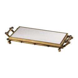 Cyan Design - Bamboo Serving Tray - This tray is made of iron with a gold finish and white marble for a touch of serving elegance.