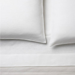 Area - Claude White Fitted Sheet - 100% heavy linen. Frenchback pillow cases. Duvet covers, sheets and cases.