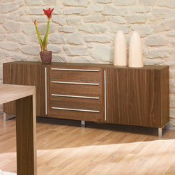 """Domitalia - Life-2c Sideboard - Features: -Two veneered doors.-Four veneered drawers.-Lacquered metal support.-Life Collection.-Product Type: Buffet.-Collection: Life 2c.-Distressed: No.-Powder Coated Finish: No.-Gloss Finish: No.-Base Material: Steel.-Top Material: Wood.-Hardware Material: Steel.-Reclaimed Wood: No.-Number of Items Included: 1.-Scratch Resistant: Yes.-Stain Resistant: No.-Tarnish Resistant: No.-Style: Contemporary.-Display Case: No.-Drop Leaf/Expandable: No.-Mirror Included: No.-Drawers Included: Yes -Number of Drawers: 4.-Drawer Glide Extension: 0.75 extension glides.-Joinery Type: Tenon.-Drawer Dividers: No.-Silverware Tray: No.-Safety Stop: Yes.-Felt Lined Drawers: No.-Locking Drawers: No.-Drawer Handle Design: Metal bar..-Cabinets Included: Yes -Number of Cabinets: 2..-Shelves Included: Yes -Number of Interior Shelves: 2.-Adjustable Interior Shelves: Yes..-Doors Included: Yes -Number of Doors: 2.-Magnetic Door Catches: Yes.-Locking Doors: No.-Door Handle Design: Metal bar.-Sliding Doors: No.-Glass Doors: No..-Lighting: No.-Leg Material: Steel.-Casters: No.-Towel Rack: No.-Wine Rack: No.-Stemware Rack: No.-Dish Rack: No.-Removable Serving Tray: No.-Cable Management: No.-Finished Back: Yes.-Weight Capacity: 300 lbs.-Shelf Weight Capacity: 30 lbs.-Swatch Available: Yes.-Commercial Use: Yes.-Recycled Content: No.-Eco-Friendly: Yes.-Product Care: Wipe with a dry clean cloth.Specifications: -FSC Certified: No.-ISTA 3A Certified: No.-General Conformity Certificate: No.-ISO 9000 Certified: Yes.-ISO 14000 Certified: Yes.Dimensions: -Overall Height - Top to Bottom: 27.5"""".-Overall Width - Side to Side: 71"""".-Overall Depth - Front to Back: 17.75"""".-Countertop Thickness: 0.5"""".-Countertop Width - Side to Side: 71"""".-Countertop Depth - Front to Back: 17.75"""".-Shelving: -Shelf Height - Top to Bottom: 7"""".-Shelf Width - Side to Side: 14"""".-Shelf Depth - Front to Back: 23""""..-Drawers: -Drawer Interior Width - Side to Side: 22"""".-Drawer Interior Depth - Front to Back: 15"""