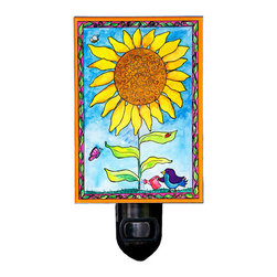 Sunflower Night Light - Our sunny Sunflower Night Light will brighten any room. It is made from a print of an original painting which is sandwiched in between two layers of durable acrylic. The light is UL approved and comes with a standard four watt night light bulb. Gift box included. Made in the USA. (Be sure to look for our sunflower wall clock, too!)