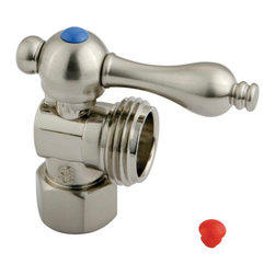 Kingston Brass - Angle Stop with 1/2in. IPS x 3/4in. Hose Thread - The 1/4-turn angle stop valve features a stylish vintage lever which controls the movement of water through and from plumbing fixtures. The valve is made of solid brass built for durability and dependability and also comes in a variety of finishes to better coordinate your kitchen/bathroom.