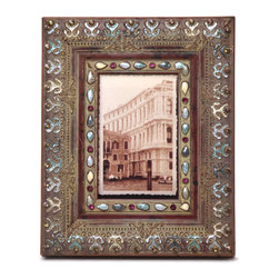 """Traders and Company - Enamel Inlaid 4x6 Wood Picture Frame w/ Jewels, 8.25""""Lx1""""Wx10.25""""H - Winterthur - Crafted from wood and given a classically antiqued look, each frame is dramatically inlaid with swirled resinous enamel. Embedded colorful rhinestone jewels dot the design, adding sparkle and shimmer to your photos. Each frame comes with an attached kickstand for desktop use, or hooks for vertical or horizontal wall hanging. Fits 4""""x6"""" photos. Alternate shapes & styles sold separately. Dimensions: 8.25""""Lx1""""Wx10.25""""H"""