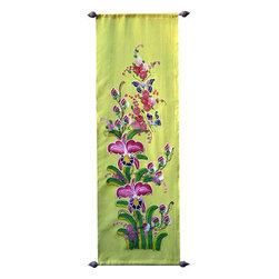 Oriental-Decor - Yellow Garden Oriental Scroll - This spectacular decorative scroll depicts Asian orchids in pink and green with a pair of fluttering butterflies. The yellow background is symbolic of geomantic blessings in Asian culture.