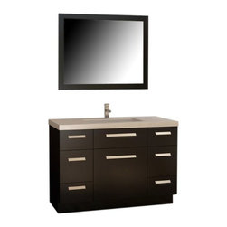 "Design Elements LLC - Moscony 48"" Single Sink Vanity Set in Espresso - The Moscony 48"" single-sink vanity is uniquely constructed of solid hardwood, simple lines, and a dark espresso finish, complemented by a beautiful quartz countertop and rectangular under-mount sink. Being twice as hard as granite, harder than steel and titanium, and possessing a hardness just below that of gemstones, quartz is an ideal material for countertops. It's hygienic, because bacteria can't penetrate the surface, and practically maintenance-free since no sealing, polishing, or reconditioning is required. Moreover, quartz doesn't stain and is more heat-resistant than other countertop materials. This modern vanity is well equipped with four pullout drawers (one in each corner) and three soft-closing cabinet doors (across the middle of the vanity). A framed matching espresso mirror is also included."