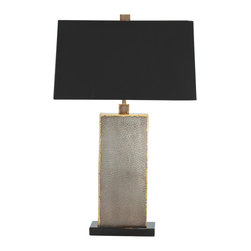 Arteriors - Graham Lamp - Box design iron table lamp features a reptile-like pattern in a natural iron finish with antique brass edges atop a black marble base. Topped with a black rectangular shaped shade with dark silver sheer lining and matching square shaped finial. 3-way switch. Takes one 150 watt 3-way bulb.