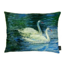 Lava - Swans 14 x 19 Pillow (Indoor/Outdoor) - 100% polyester cover and fill. Suitable for use indoors or out. Made in USA. Spot clean only