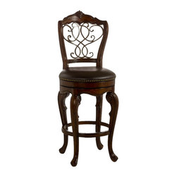 """Hillsdale - Hillsdale Burrell Swivel 27"""" or 30"""" Stool in Brown Cherry and Old Steel Finish-C - Hillsdale - Bar Stools - 5170826 - Baroque in inspiration and artfully executed the Burrell Stool brings Old World class to the modern bar. Constructed of solid wood with a brown cherry finish the Burrell features an elegant intertwining pattern on its back created of old steel finished metal work. This delightful stool also boasts a 360 degree swivel seat covered in dark brown leather with nailhead trim. The Burrell is available in bar and counter heights. Some assembly required."""