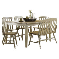 Liberty Furniture - Liberty Furniture Al Fresco 74x40 Rectangular Dining Table in Light Wood, Antiqu - Al Fresco or dining in the outdoors brings to mind an open air natural feel. Al Fresco Casual Dining is a fresh approach to a casual rustic style. Two tone finish with tops of the tables in driftwood and the base in a taupe finish. Tops feature planked design with round/square peg accents. Tapered block legs carry the casual rustic theme of the group. Butterfly leaf square counter table has a pedestal storage base with a storage drawer and top shelving. What's included: Dining Table (1).