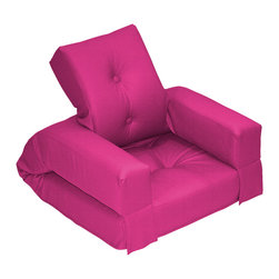 Fresh Futon - Hippo Jr. Convertible Futon Chair/Bed, Pink Mattress - Unlike its animal counterpart the Hippo is sure to be a space-saving marvel in any room folding from a cozy chair to a plush mattress than can be stored under most beds.. Available in 9 twill fabric color options.