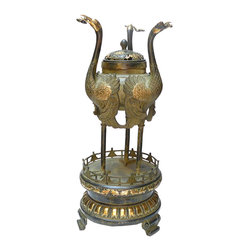 Golden Lotus - Chinese Bronze Golden Three Crane Tall Incense Burner Display - This is an incense burner made of bronze metal and golden color gilt on the body. The theme is three cranes standing on the top.