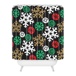 DENY Designs - DENY Designs Zoe Wodarz Cozy Cabin Snowflakes Shower Curtain - Who says bathrooms can't be fun? To get the most bang for your buck, start with an artistic, inventive shower curtain. We've got endless options that will really make your bathroom pop. Heck, your guests may start spending a little extra time in there because of it!