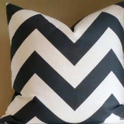 Charcoal gray and white wide chevron pillow cover - Add so much interest to your home, with charcoal and grey chevron stripe pillow cover. Decorate with stripes and ikats of different scale will create a stunning stylish room.