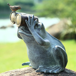"""Frog Spectator with Bird Garden Statue - Here's looking at you kid! A plump frog with binoculars checks out the long range view while a small bird perches lightly on the magnifiers for a better glimpse of the frog. Living is a spectator sport! Dimensions: 13.5""""w x 11.5""""d x 13.5""""h"""