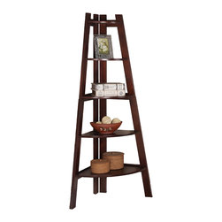 Adarn Inc. - Display Corner Wall Shelf Storage Ladder Shape Bookcase Bookshelf, Walnut - A modern crafted piece, this cool bookcase offer a distinctive storage solution for any room in your home, great for tight spaces because it fits right into the corner of your room. Five pie-shape shelves offer plenty of storage space for books, framed photos, and your favorite decorative accent items. Create a stylish look in your home with this unique corner ladder shape shelf.