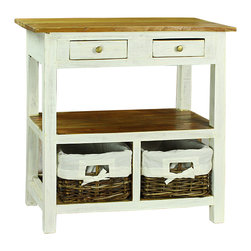 Antique Revival - Vivianna Storage Console - Reinvent empty spaces in your home with this rustic console. More than a thing of beauty,it also features three tiers of storage: a traditional table on top,a wide nook in the middle,and two rattan basket drawers at the bottom