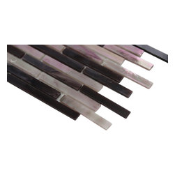 """Matchstix Plum Crazy Glass Tile - sample-MATCHSTIX PLUM CRAZY 1/4 SHEET GLASS TILES SAMPLE You are purchasing a 1/4 sheet sample measuring approximately 3 """" x 12 """". Samples are intended for color comparison purposes, not installation purposes. -Glass Tiles -"""