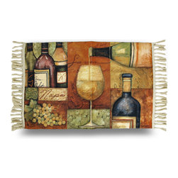 Zeckos - Susan Winget Decorative Napa Valley Accent Rug 20 x 36 in. - This colorful woven accent rug features the art of Susan Winget that'll add a lovely accent anywhere in your home, and is perfect for the kitchen, dining room, bar or wine cellar featuring her 'Napa Valley' wine design. It measures 36 inches long, 20 inches wide, and is made from 100% polyester with a non-slip backing to help keep it in place. With ease of care in mind, it's even machine washable in cold water (allow to air dry), to help keep it looking great This rug is a pretty accent for your home, and makes a wonderful gift for friends or family, and is a must-have piece for collectors of Susan Winget art.
