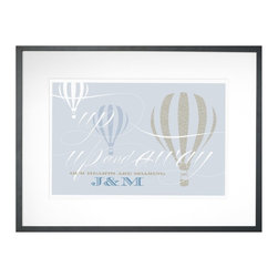 Checkerboard Lifestyle - Up Up & Away Personalized Framed Wall Decor - 24W x 18H in. Multicolor - WAL-AEA - Shop for Framed Art and Posters from Hayneedle.com! Is your love blowin' up? Let it take flight with the Up Up & Away Personalized Framed Wall Decor - 24W x 18H in. Not your typical balloon art this masterpiece was meant to memorialize you and your mate. Against a gray background three balloons float taking your hearts with them. Your choice of initials will be included to make this print extra personal.The Value of Giclee PrintsPronounced jee-clay this method is an advanced printmaking process for creating high-quality fine art reproductions. The attainable quality that giclee printmaking affords makes the reproduction virtually indistinguishable from the original artwork. The result is wide acceptance of giclee prints by galleries museums and private collectors.About CheckerboardCheckerboard was founded in 1989 and evolved out of a love for the printing business but along the way it never lost the charm and genuineness instilled from early on. Detail oriented and determined to continually work towards innovation and originality Checkerboard produces high-quality paper products created with unbeatable craftsmanship. Their commitment to creating an outstanding work environment for their employees along with their commitment to customer satisfaction has made them a frontrunner in their field. Checkerboard strives to be the best for its customers working partners and community.