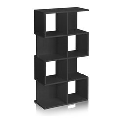 Way Basics - Way Basics 4 Shelf Malibu Bookcase Storage, Black - The Malibu is your perfect bookshelf. Its unique modern look will complement and adorn any room in your home or office.