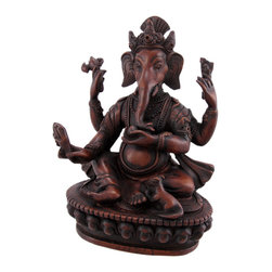 Zeckos - Teak Finish 6 Inch Ganesha Hindu God Statue Ganesh - The son of Shiva and Parvati, Ganesha has an elephantine countenance with a curved trunk and big ears, and a huge pot-bellied body of a human being. He is the Lord of success and destroyer of evils and obstacles. He is also worshiped as the god of education, knowledge, wisdom and wealth. This statue of Lord Ganesha makes a great housewarming or wedding gift. Measuring 6 1/8 inches tall, 4 5/8 inches wide, and 2 7/8 inches deep, he looks great on mantels, tables, or nightstands. It's made of cold cast resin, but looks like polished teak wood.