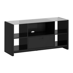"""kathy ireland Office - New York Skyline TV Stand (Plumeria White) - Kathy Ireland Office by Bush Furniture brings the idea of a family work and play space to life with this TV credenza and lateral file. Your flat-panel TV (up to 60""""/117 lbs.) goes on top, while you can store papers in the lateral file. As always, safety comes first, with an in clouded Stabilibar TV Safety Brace and rounded corners and edges to reduce the risk of collision in juries. Glass surfaces are additionally reinforced with a safety brace and safety film to help prevent and protect against shattering in juries. Open storage spaces fit matching Kathy Ireland Office by Bush Furniture storage bins. All pieces are crafted with painted wood finish and a protective top coat. Features Bush Furniture's Quick-to-Assemble technology for dramatically reduced assembly time."""