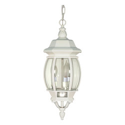Nuvo Lighting - White Three Light Up Lighting Outdoor Pendant from the Central Park Collection - Three light up lighting outdoor pendant featuring clear beveled glass