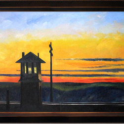 """overstockArt.com - Hopper - Railroad Sunset Oil Painting - 24"""" x 36"""" Oil Painting On Canvas Railroad Sunset is a beautiful painting originally created in 1929. It is a remarkable oil painting with exceptional use of color, detail and brush strokes. Hopper received many honors in his lifetime for his exceptional use of color, detail, and subject matter. His classic works capture the authenticity of urban and rural American life with emotions and beauty that have placed them among the lasting and popular images of the American 20th century landscape. Make this painting a part of your home collection."""