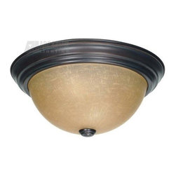 "Satco - Satco 13"" Energy Efficient Traditional Flush Mount Ceiling Light X-6013/06 - This Nuvo Lighting flush mount ceiling light is all about classic finishes and traditional styling. This energy efficient traditional ceiling light comes finished in a deep Mahogany Bronze hue that compliments the majestic detailing of the base and finial. For added appeal, it also features a golden toned champagne washed linen glass shade."