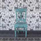 Otomi Allover Damask Wall Stencil - Influenced by the richly embroidered textiles of the Otomi people, the Otomi Allover Damask Wall Stencil from Royal Design Studio captures the movement found in the the nature-based folk art of these talented Mexican artisans. Arranged into an allover damask pattern, this stencil is the perfect way to create a bold statement wall or stencil your whole room for a painted wallpaper effect.