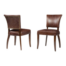 Four Hands - Mimi Dining Chair, Biker Tan, Antique Oak - Elegant curves and ample, top-grain leather upholstery are hallmarks of this chair, inspired by the aristocratic furnishings of turn-of-the-century American manor houses. Complete your contemporary dining room with its classic style and total comfort.