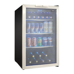"Danby - 4.3 Cu.ft. Free Standing Beverage Center - 4.3 cu. ft. (123 litre) capacity free standing beverage center, Holds a maximum of 124 (355ml) beverage cans or 7 bottles of, wine and 88 beverage cans and 78 beverage cans, Tempered glass door with stainless steel trim, 3 tempered glass shelves with stainless steel trim, Temperature cooling range of 4C - 18C (39F - 64F), Interior blue LED lighting displays the contents, Electronic blue LED thermostat, Integrated door lock with key, Reversible door hinge for left or right hand opening, dimensions: 19 7/16"" W x 24 1/8"" D x 33 1/16"""