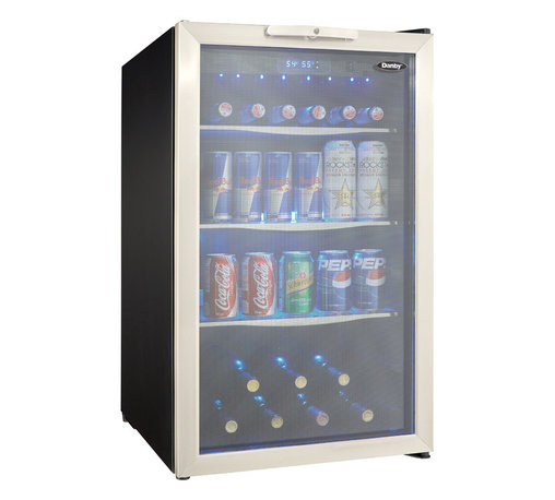 """Danby - 4.3 Cu.ft. Free Standing Beverage Center - 4.3 cu. ft. (123 litre) capacity free standing beverage center, Holds a maximum of 124 (355ml) beverage cans or 7 bottles of, wine and 88 beverage cans and 78 beverage cans, Tempered glass door with stainless steel trim, 3 tempered glass shelves with stainless steel trim, Temperature cooling range of 4C - 18C (39F - 64F), Interior blue LED lighting displays the contents, Electronic blue LED thermostat, Integrated door lock with key, Reversible door hinge for left or right hand opening, dimensions: 19 7/16"""" W x 24 1/8"""" D x 33 1/16"""""""